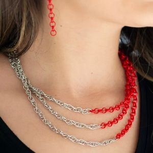 Turn Up The Volume Necklace Paparazzi (red)